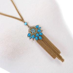 Boho Flower Tassel Pendant Necklace